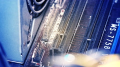 Inside View of the Dusty Computer Main Board Stock Footage