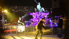Stock Video Footage of people ice skating on xmas fair at berlin alexanderplatz