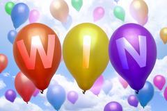 Win balloon colorful balloons Stock Illustration