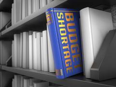 Budget Shortage - Title of Blue Book. - stock illustration