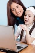 family life series - working on laptop - stock photo