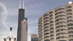 Willis (Sears) Tower Chicago Slow Approaching Shot 720p - stock footage