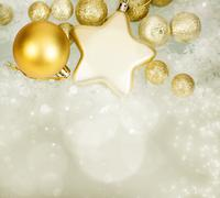 Magic christmas background with golden christmas decoaration Stock Photos