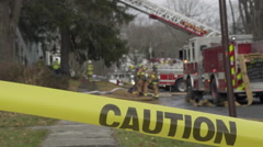 Caution Tape Near a Fire Truck (1 of 3) - stock footage