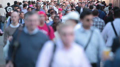 Anonymous crowd of people walking on a busy New York City street Stock Footage