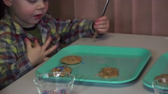 Grandchildren and cookies, new creator Stock Footage