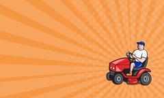 business card gardener mowing rideon lawn mower cartoon - stock illustration