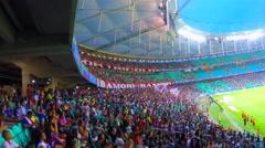Brazilian Fans in Arena Fonte Nova in Salvador, Bahia Stock Footage
