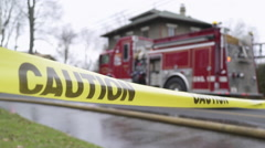 Caution Tape Near a Fire Truck (1 of 3) Stock Footage