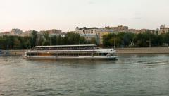 Boat deploy on the moscow river, timelapse Stock Footage