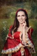 Beautiful Medieval Princess Smiling - stock photo