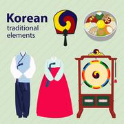 Korean traditional elements vector set Stock Illustration