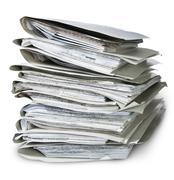 files arranged in chaotic stack - stock photo