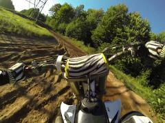 Stock Video Footage of motocross chest pov on dirt bike racetrack