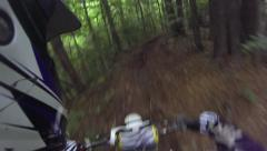 Motocross helmet cam riding in the woods Stock Footage