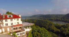 Aerial Abandoned Mountain Hotel Stock Footage