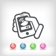 Antenna smartphone or tablet icon - stock illustration