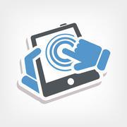 Touchscreen action icon - stock illustration