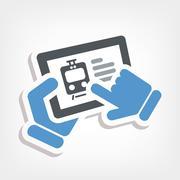 Train web booking - stock illustration