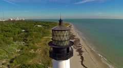 Aerial view Cape Florida Lighthouse Key Biscayne Florida Clip1 Stock Footage