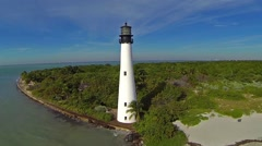 Aerial view Cape Florida Lighthouse Key Biscayne Florida Clip2 Stock Footage