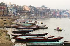 Boats on the Ganges River in Varanasi, Uttar Pradesh, India Stock Photos