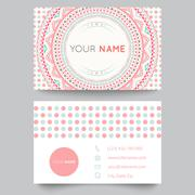 business card template, blue, white and pink beauty fashion pattern vector de - stock illustration