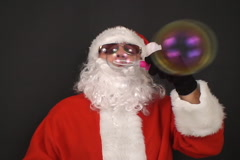 Santa starts up soap bubbles Stock Footage