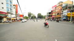 Traffic on Busy Street in Downtown Ho Chi Minh City (Saigon) Vietnam Stock Footage