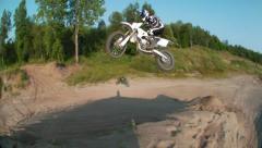 motocross extreme closeup jump view - stock footage