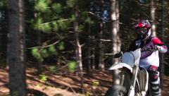 Dirt bike drop off jump Stock Footage