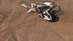 Extreme fail dirt biker falls Stock Footage