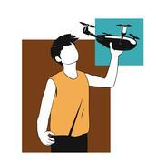 drone launching - stock illustration
