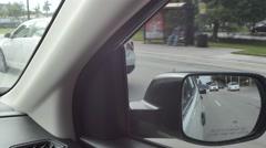 Rear view mirror pov 4k video Stock Footage