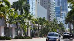 Collins Avenue 68th st south facing 4k Stock Footage