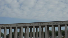 Clouds in the sky: timelapse of skyline of  Roman Civilization museum in Rome Stock Footage