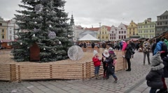 Christmas markets in Pilsen Square Stock Footage
