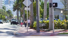 Collins ave 68th st crosswalk Stock Footage