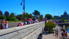 4K Victoria Canada CIty Tourist Causeway, Empress Hotel during the Summer Stock Footage