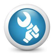 Wrench holding icon - stock illustration