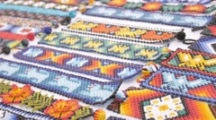 Huichol handcrafted artworks Stock Footage