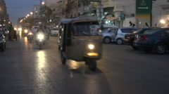 Traffic and tricycles in Karachi Stock Footage