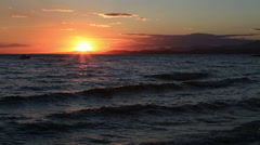 Beautiful sunset over Aegean sea. Stock Footage