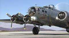 B-17 Aluminum Overcast Start Up Stock Footage