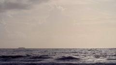 Caribbean Timelapse Boat on horizon morning Stock Footage