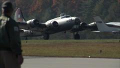 B-17 Aluminum Overcast TaxiIn Stock Footage