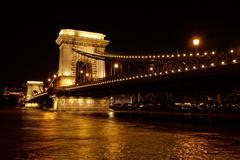 Night image of the hungarian chain Bridge Stock Photos