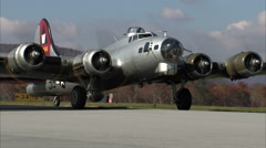 B-17 Aluminum Overcast Taxi to Stop Stock Footage