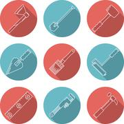 Flat vector icons for woodwork tools - stock illustration