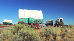 Covered Wagon Train Circled In Camp Stock Footage